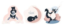 Set Of Cliparts With Cute Animals, Skunks With A Magic Wand, Cat Sleeping On The Moon, Bear Sitting On A Rainbow And Eating Honey, Cute Baby Vector Illustration In Flat Style, Horizontal Position.
