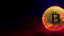 Burning Golden Bitcoin Coin In Red Smoke Background. Cryptocurrency Concept
