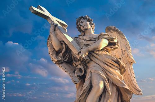 Fototapeta Statues on the bridge of St. Angel.