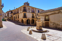 Town Square With Ancient Stone Fountain And Medieval Buildings. Sepulveda, Segovia.