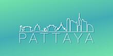 Pattaya City, Bang Lamung District, Chon Buri, Thailand Skyline Linear Design. Flat City Illustration Minimal Clip Art. Background Gradient Travel Vector Icon.