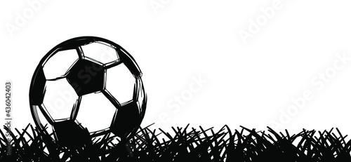 Fotografia Flat vector black grunge soccer ball