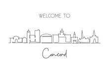 Single Continuous Line Drawing Of Concord Skyline, New Hampshire. Famous City Scraper Landscape. World Travel Home Wall Decor Art Poster Print Concept. Modern One Line Draw Design Vector Illustration