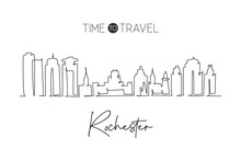 One Single Line Drawing Rochester City Skyline, Minnesota. World Historical Town Landscape Postcard. Best Holiday Destination. Editable Stroke Trendy Continuous Line Draw Design Vector Illustration