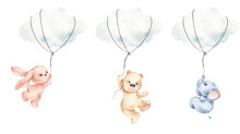 Cute Watercolor Bear, Rabbit And Elephant On The Cloud, Cute Animals In The Sky