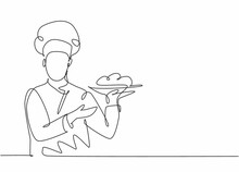 Continuous One Line Drawing Of Young Attractive Male Chef Holding Main Dish Food Tray And Ready To Serve To Customer. Good Resto Service Concept Single Line Draw Graphic Design Vector Illustration