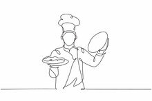 One Continuous Line Drawing Of Young Handsome Male Chef Opening Cloche Tray To Serve Main Dish To Customer At Hotel Restaurant. Excellent Service Concept Single Line Draw Design Vector Illustration