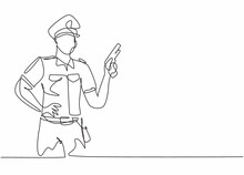 Continuous One Line Drawing Of Young Policeman Wearing Uniform And Holding Hand Revolver Gun. Professional Job Profession Minimalist Concept. Single Line Draw Design Vector Graphic Illustration