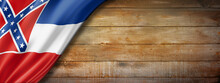Mississippi Flag On Old Wood Wall Banner, USA