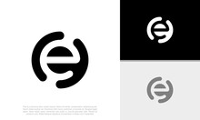 Initial E Logo Design. Innovative High Tech Logo Template. Template Label For Blockchain Technology.