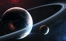 Inhabited Planet In Deep Space With Satellite. Beautiful Cosmic Landscape. Science Fiction. Elements Of This Image Furnished By NASA