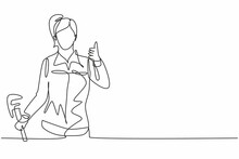 Continuous One Line Drawing A Plumber Woman With A Thumbs-up Gesture At Work Fixing Leaking Drains In Sinks And Household Drains Professionally. Single Line Draw Design Vector Graphic Illustration.