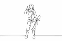 Single Continuous Line Drawing Woman Soldiers Stand With Weapons, Uniforms, Thumbs-up Gestures Serving The Country With Strength Of Military Forces. One Line Draw Graphic Design Vector Illustration