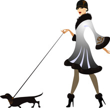 Fashion Girl In Profile In White Coats And Dog, Woman Of Going, Image Woman Walk In Retro Style