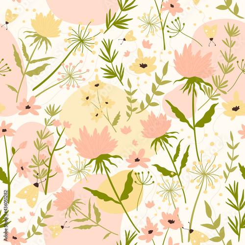 Tapety Boho   kwiat-pole-ilustracja-wektorowa-streszczenie-kwiatowy-wzor-dekoracyjna-powtarzajaca-sie-dzika-laka-trawa-zielony-lisc-kwiat-w-stylu-boho-do-owijania-tapety-tekstylnej-flora-sztuki-projektowania-tla