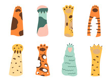 Cat Paw Set. Wild Animals Cartoon Colored Cat Paws. Collection Of Various Cute Cartoon Domestic Animal Foot