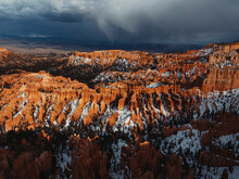 Famous Crimson-colored Hoodoos, Landscape Of Bryce Canyon National Park, The Best Park In Utah