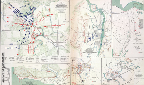 Fotografie, Obraz Maps of key battles and movements of the civil war
