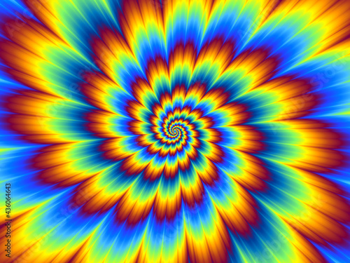 Fotografering Pulsing fiery flower. Optical illusion of movement.
