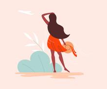 Cute Woman In Orange Dress Is Standing And Looking Ahead