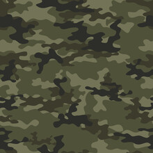 Forest Camouflage Pattern Khaki Vector Seamless Background.