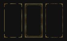 Set Of Golden Vector Frames For Stories In Social Media. Isolated Art Deco Borders For Design. Gold Frame Collection