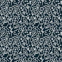 Wallpaper Blue Navy Doodle White Flowers And More
