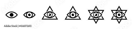 Fotografering All seeing eye icon, illumination symbols, masonic sign, conspiracy of elites, t
