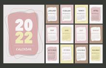 Calendar 2022 Template, Pink, Beige, Brown And Yellow Desk Calendar Design. Week Start On Monday, Planner, Stationery, Wall Calendar. Vector Illustration