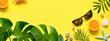 Leinwandbild Motiv Summer background. Palm leaf, orange, starfish and seashell on yellow background. Travel.
