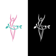 Body Weight Loss Concept. Feminine Silhouettes. Weight Loss Logo Vector For Woman Healthy Diet Programs. Icon For Body Care And Food Care, Training Slim Waist And Loins, Fit & Wellness Illustration.