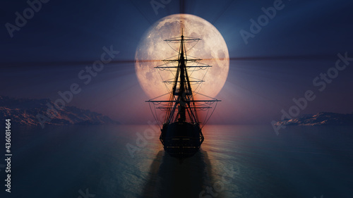 Obraz na plátně old ship in the night full moon illustration