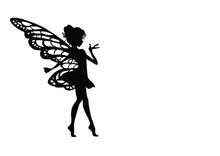 Silhouette Of The Girl With Butterflies Wall Sticker