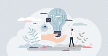 Digital Innovation And New Technological Invention Idea Tiny Person Concept. Creative Tech Startup Business Development With Successful And Smart Futuristic Approach Vector Illustration. IT Scene.