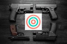 Gun And Paper Target. Shooting Range Concept. Shooting Practice Background.