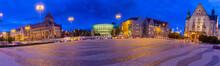 Poznan. Adam Mickiewicz Square At Sunset.