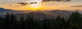 Fototapeta Na sufit - Sunset seen from Dwernik Kamień, multi-plan on the horizon, Bieszczady Mountains
