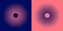 Abstract, Hypnotic Background With Concentric Circles. Colorful Halftone Graphic Design Elements. Sound Wave Vector Illustration.