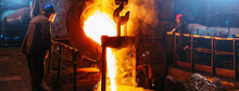 Cast Iron, Blast Furnace In Foundry, Liquid Molten Metal Pouring In Ladle, Metallurgical Factory, Horizontal Banner Image.