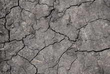 Dry, Cracked Lifeless Earth All Over The Frame Illuminated By The Bright Sun