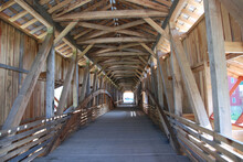 Interior View Of A Covered Bridge