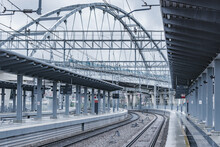 Passenger Platforms Of Station At Rainy Day.