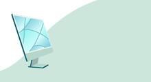 Modern Desktop Screen, Computer Monitor, Website Banner, Computer Background, Computer Banner, Announcement Background, Green Computer Vector Illustration Background