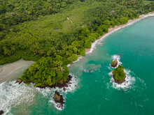 Beautiful Aerial View Of Manuel Antonio National Park And Its Magnificent Beach In Quepos Costa Rica