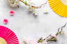 Chinese Hand Fans With Cherry Blossom Branch. Top View