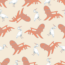 Nautical Beach Seamless Pattern Theme With Beach Chair And Great Egret Bird On Tan Background.