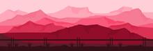 Pink Landscape Mountain Vector Illustration Flat Design For Wallpaper, Background, Banner Template, Tourism Design Template, And Adventure Design Template