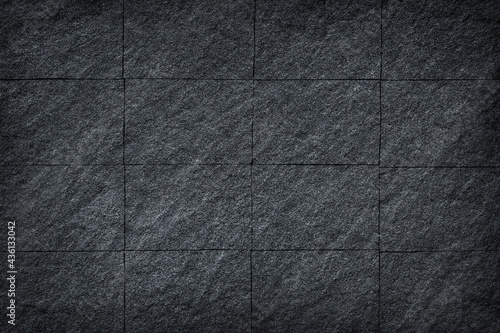 Fotografie, Obraz Dark slate stone wall or black stone texture abstract for  background