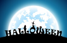 Illustration Halloween Festival Background,full Moon On Dark Night With Black Cat And Owl On The Grave,many Ghost And Devil Walking To Castle For Celebration Halloween Day
