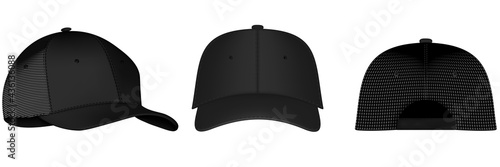 Fotografie, Obraz Design template, vector realistic white baseball cap front, back and side view isolated on background